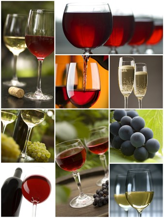 red and white wine collage made from nine photographs