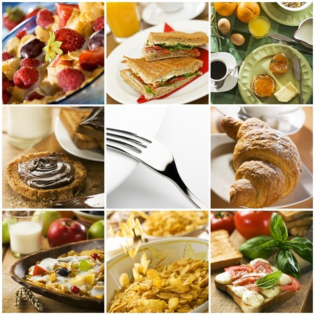 healthy breakfast collage made from nine photographs photo