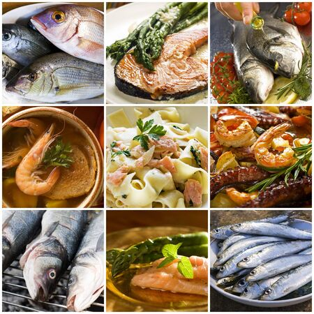 visboer: Zeevruchten collage gemaakt van negen foto's Stockfoto