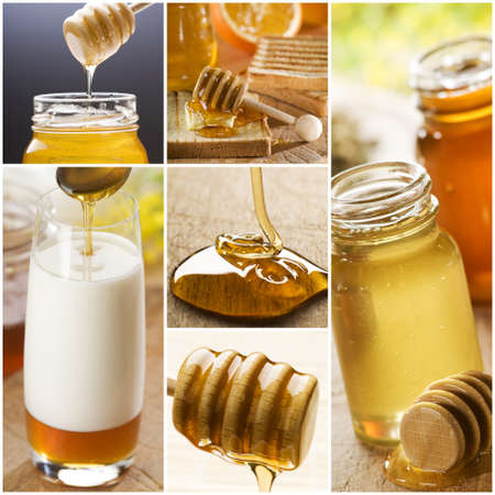 beautiful honey collage made from six photographs Stock Photo