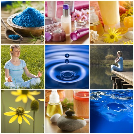 beautiful colorful spa collage made from nine photographs Stock Photo