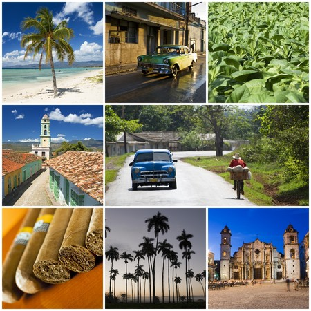habana: beautiful cuban collage made from eight photographs Stock Photo