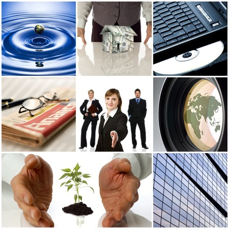 colorful business collage made from nine photographs Stock Photo