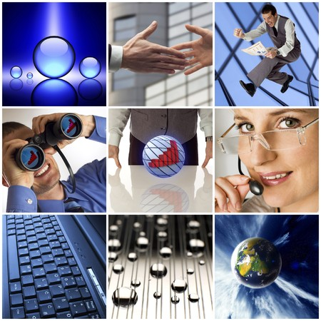 colorful business collage made from nine photographs  photo