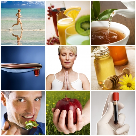 beautiful healthy lifestyle theme collage made from nine photographs Banco de Imagens