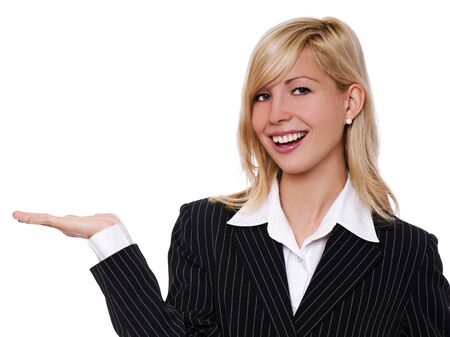 young blond business women holding something close up Stock Photo - 4259746