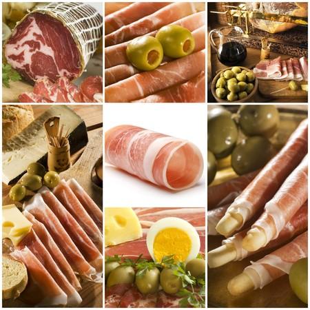 prosciutto: prosciutto theme collage made from seven photographs