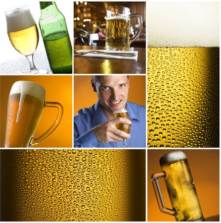 colorful beer collage made from nine photographs Stock Photo - 4267004