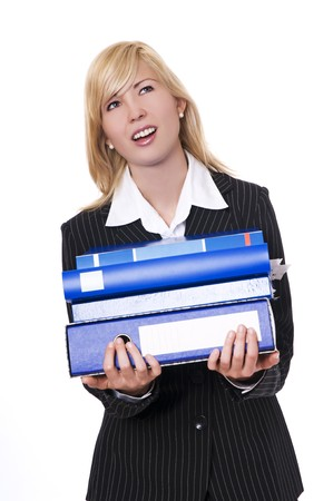 young blond businesswoman carrying folders on white background
