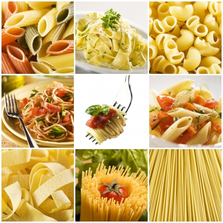 beautiful pasta collage made from nine photographs photo