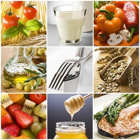 comidas saludables: alimentos sanos collage realizado a partir de nueve fotograf�as