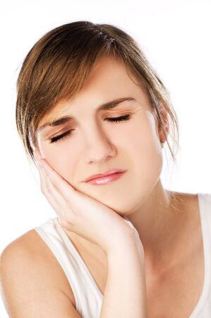 brunette young woman in pain close up shoot  Stock Photo