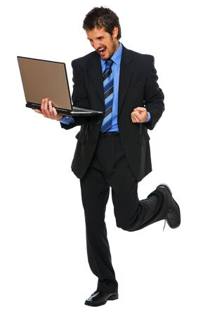 young happy business men with laptop on white Stock Photo - 4320672