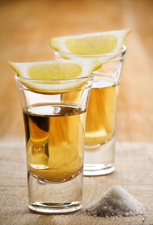 Two tequila shots, with lemon and salt Stock Photo - 4407782