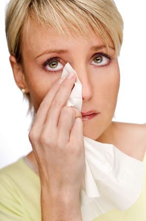 young blond woman crying close up shoot photo
