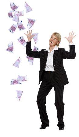 business millionaire - euro bills raining on her photo