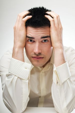 young business man in stress close up shoot photo