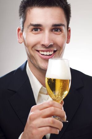 young handsome men drinking cold beer portrait Stock Photo - 4674191