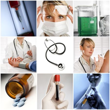 themes: Beautiful medical collage made from nine photographs Stock Photo