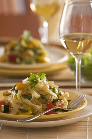 Pasta with vegetables and parsley close up shoot