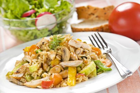 risotto: Fresh risotto with chicken and wegetables close up Stock Photo