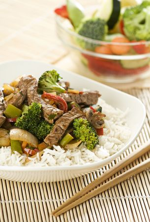 Beef and vegetables Chop suey close up Stock Photo