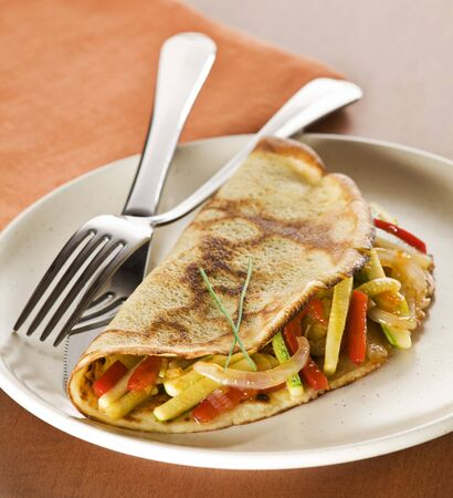 Fresh pancake with vegetables close up shoot photo