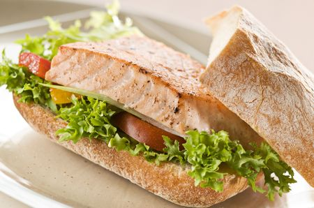 Fresh salmon sandwich with salad close up photo