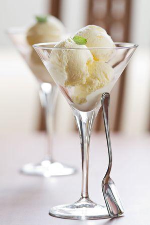 tall glass: Fresh vanilla ice cream in tall glass Stock Photo