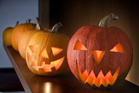 Halloween carved pumpkins indoor close up shoot photo