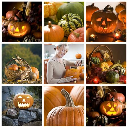 Beautiful halloween collage made from nine photographs photo