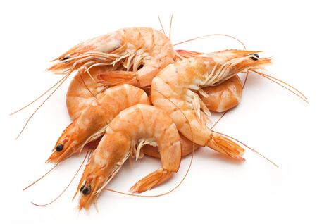 Fresh cooked king prawns isolated on white