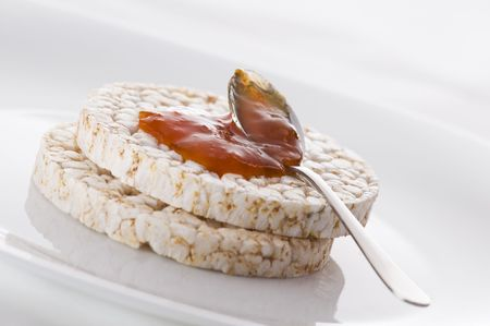 puffed: Healthy rice cake with bio jam close up