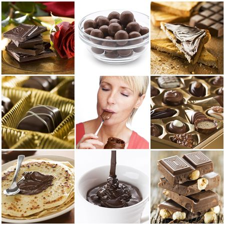 Beautiful chocolate collage made from nine photos photo