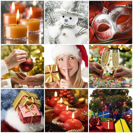 christmas drink: Beautiful christmas collage made from nine photos
