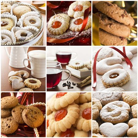 bakery products: Beautiful cookie collage made from nine photos