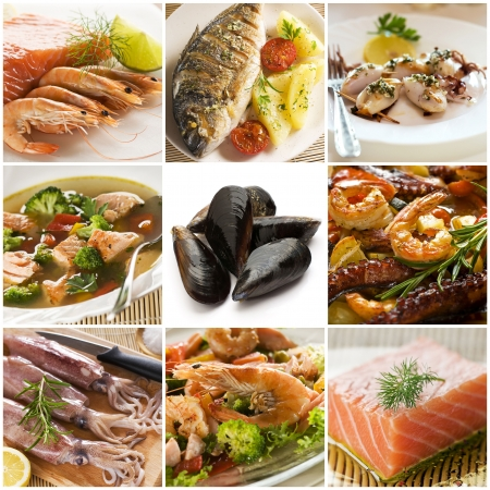 squids: Sea food collage made from nine photographs Stock Photo