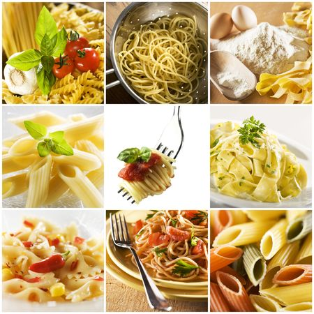 italian restaurant: Beautiful pasta collage made from nine photographs Stock Photo