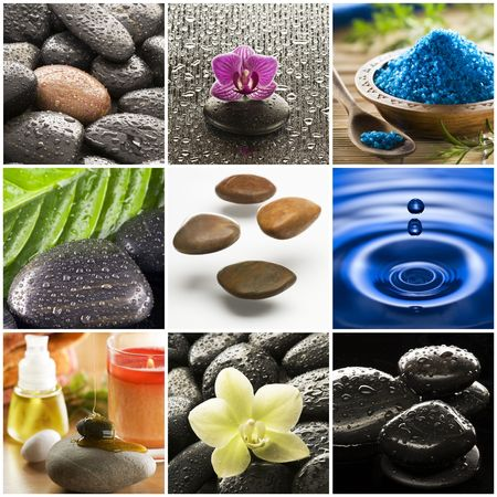 meditation stones: Beautiful colorful zen like collage made from nine photographs
