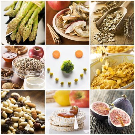 Healthy breakfast collage made from nine photographs  Stock Photo