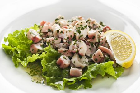 Fresh octopus salad with lemon close up shoot photo
