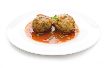 Fresh meat balls with tomato gravy close up shoot