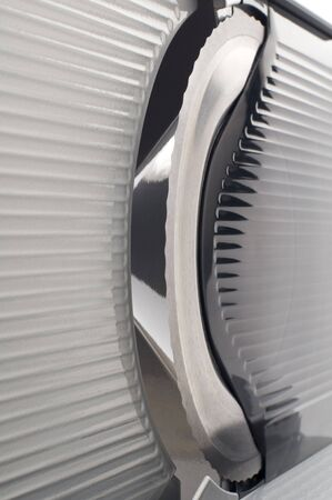 slicer: Slicer blade machine abstract close up shoot