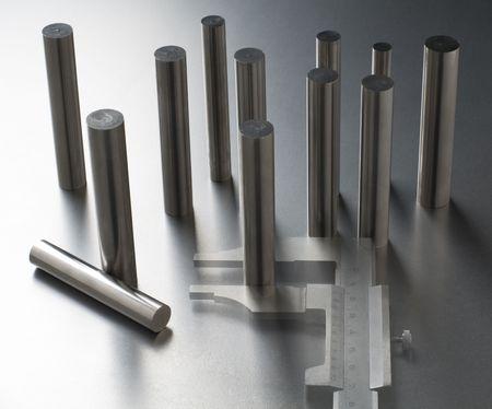 metering: Caliper metering silver metal rods close up shoot - double exposure