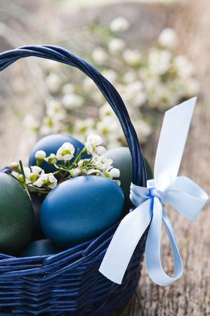 Easter eggs in blue basket close up shoot