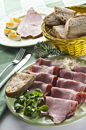 Fresh easter ham with eggs close up shoot Stock Photo - 6671682