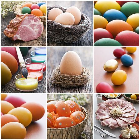 Colorful easter collage made from nine photographs Stock Photo - 6671794