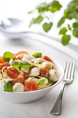 Sliced tomato and mozzarella with pasta close up photo