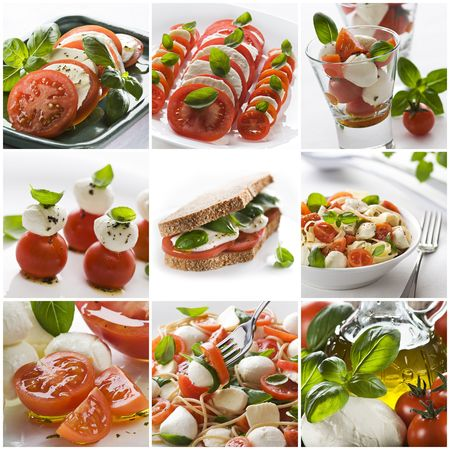 Fresh salads collage made from nine photographs Stock Photo
