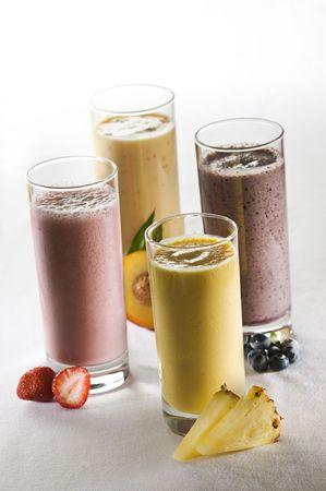 Fresh mixed fruit smoothies close up shoot  photo
